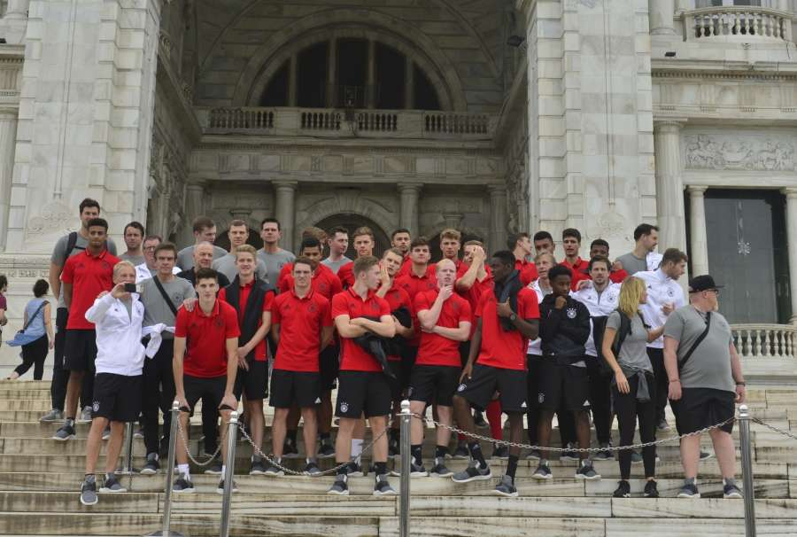 Kolkata: Germany's U 17 team during its visit to the Victoria Memorial in Kolkata on Oct 21, 2017. (Photo: Kuntal Chakrabarty/IANS) by .