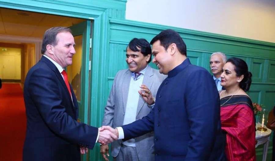 Stockholm: Union Commerce and Industry Minister Suresh Prabhu and Maharashtra Chief Minister Devendra Fadnavis meet Sweden's Prime Minister Stefan Löfven during the Business Leaders Conference in Stockholm, Sweden on Oct 11, 2017. (Photo: IANS) by .