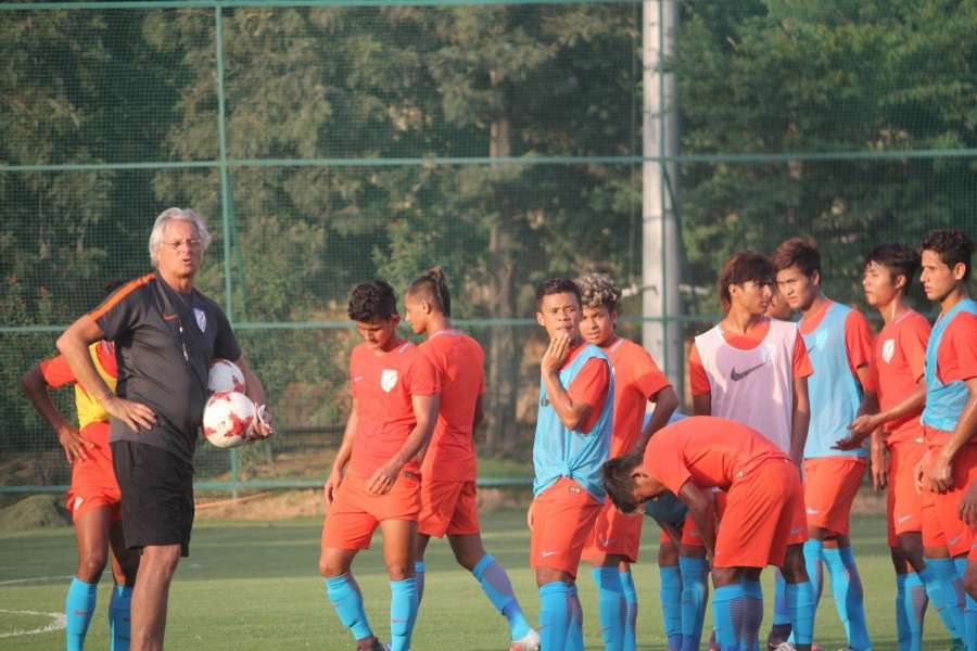 Gurugram: Members of the Indian U-17 National Team - The Indian Colts along with head coach Luis Norton de Matos during their first training session ahead of the FIFA U-17 World Cup at the Conscient Football ground in Gurugram on Sept 27, 2017. (Photo: IANS) by .