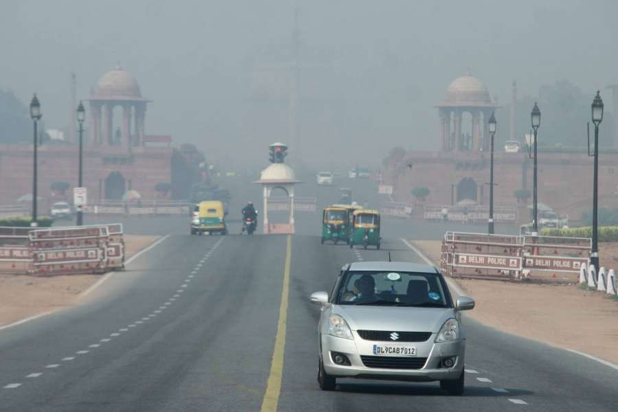 New Delhi: Smog reduces visibility in New Delhi a day after Diwali on Oct 20, 2017. (Photo: IANS) by .