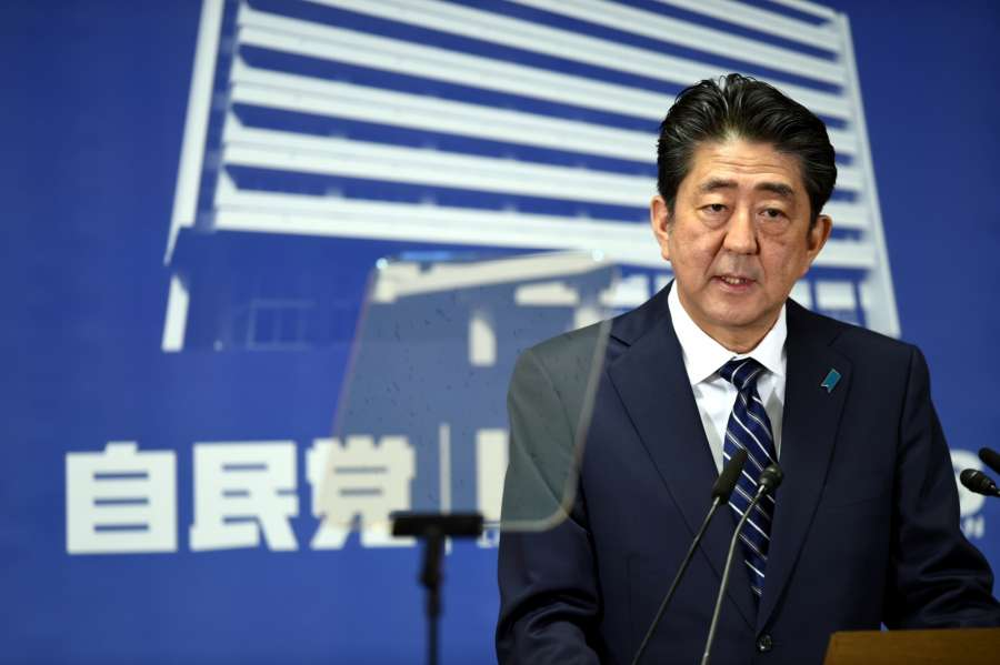TOKYO, Oct. 23, 2017 (Xinhua) -- Shinzo Abe, President of the Liberal Democratic Party (LDP), attends a press conference in Tokyo, Japan, on Oct. 23, 2017. Japan's ruling camp grouped by Prime Minister Shinzo Abe's LDP and its junior partner, the Komeito Party, has won a two-thirds