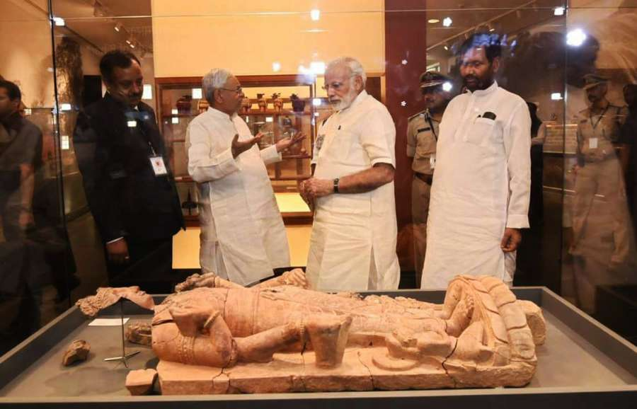 Patna: Prime Minister Narendra Modi with Union Consumer Affairs, Food and Public Distribution Minister Ram Vilas Paswan and Bihar Chief Minister Nitish Kumar visits Patna Museum in Bihar on Oct 14, 2017. Also seen . (Photo: IANS) by .