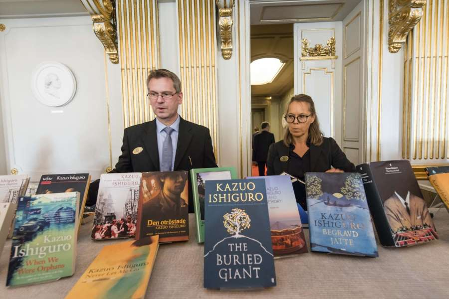 STOCKHOLM, Oct. 5, 2017 (Xinhua) -- Photo taken on Oct. 5, 2017 shows some literary works of Kazuo Ishiguro, the winner of the Nobel Prize in Literature 2017, in Stockholm, Sweden. The Nobel Prize in Literature for 2017 was awarded to Kazuo Ishiguro