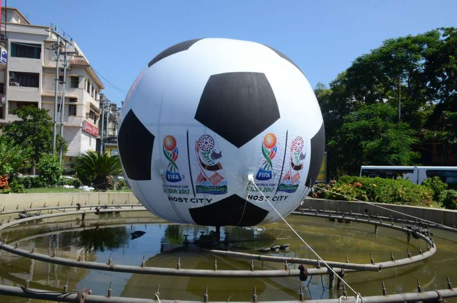 Guwahati: A view of a giant football installed at a Guwahati roundabout ahead of the FIFA U-17 World Cup India 2017 on Oct 5, 2017. (Photo: IANS) by .