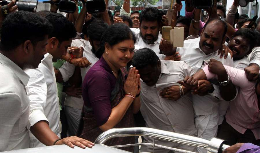 Chennai: Jailed AIADMK leader V.K. Sasikala who has been granted five-day parole, arrives to meet her ailing husband M. Natarajan at the Global Hospital in Chennai on Oct 7, 2017. (Photo: IANS) by .