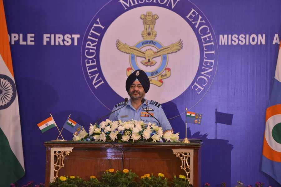 New Delhi: India Air force chief Air Chief Marshal B.S. Dhanoa addresses a press conference in New Delhi on Oct 5, 2017. IAF chief said they have a 'Plan B' to cater for the shortage of strength if there is a situation of war on two fronts. (Photo: IANS) by .
