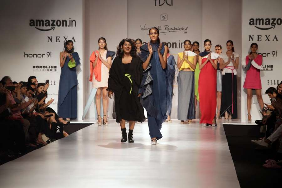 New Delhi: Models walk the ramp during designer Wendell Rodricks' show at Amazon India Fashion Week Summer Spring 2017 in New Delhi on Oct 11,2017. (Amlan Paliwal/IANS) by .