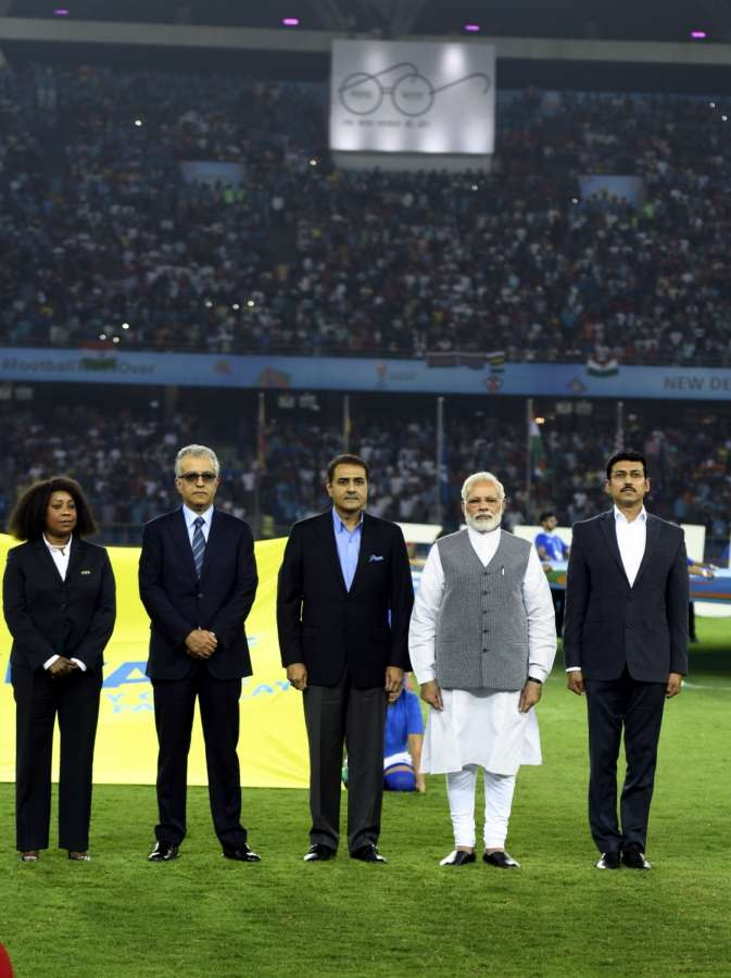 New Delhi: Prime Minister Narendra Modi, Union Sports Minister Col. Rajyavardhan Singh Rathore, AIFF president Praful Patel with other dignitaries ahead of the FIFA U-17 World Cup 2017 Group A match between India and USA at Jawaharlal Nehru Stadium in New Delhi, on Oct 6, 2017. (Photo: IANS) by .