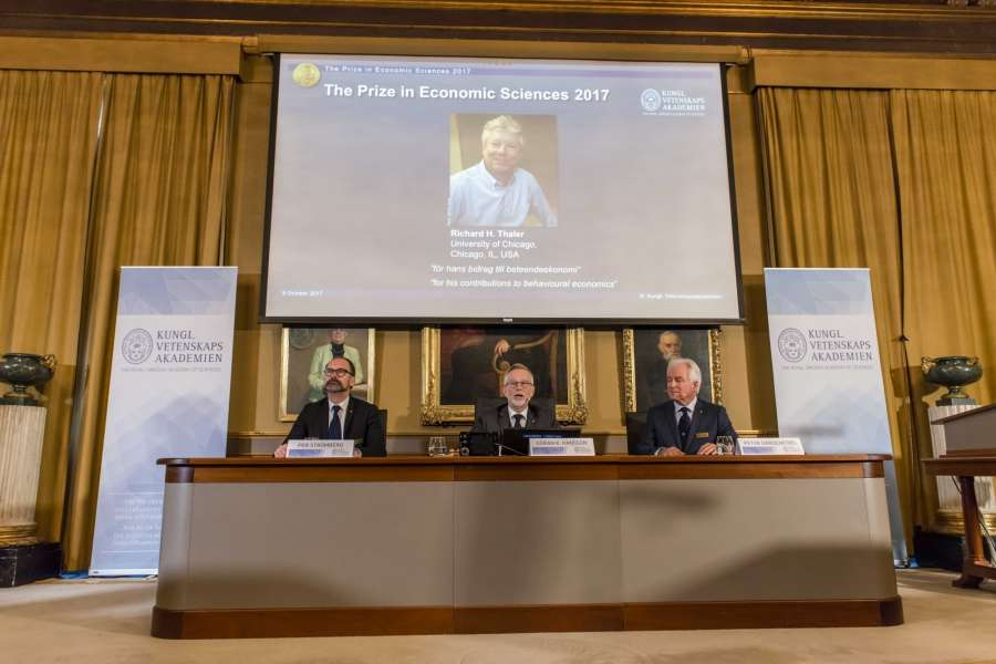 "STOCKHOLM, Oct. 9, 2017 (Xinhua) -- Photo taken on Oct. 9, 2017 shows the press conference to announce the 2017 Nobel Prize in Economics in Stockholm, Sweden. The 2017 Nobel Prize in Economics, or officially the Sveriges Riksbank Prize in Economic Sciences in Memory of Alfred Nobel, was awarded to Richard H. Thaler ""for his contributions to behavioural economics,"" announced the Royal Swedish Academy of Sciences here on Monday. (Xinhua/Shi Tiansheng/IANS) by ."