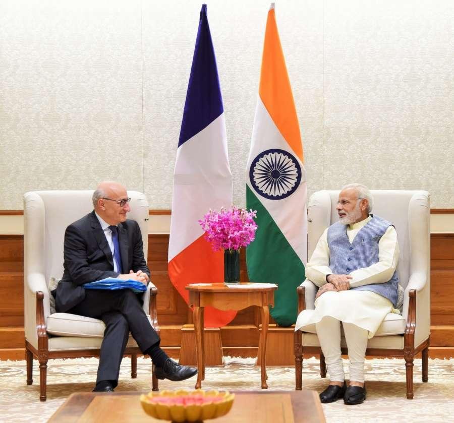 Kolkata: Diplomatic Advisor to French President Philippe Etienne calls on Prime Minister Narendra Modi, in New Delhi on Oct 4, 2017. (Photo: IANS/PIB) by .