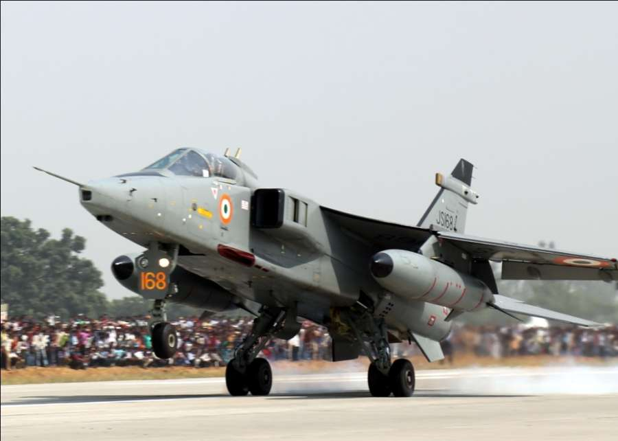 Unnao: Jaguar fighter aircraft during IAF landing operations at Lucknow-Agra Expressway near Bangarmau in Unnao on Oct 24, 2017. (Photo: IANS/DPRO) by .