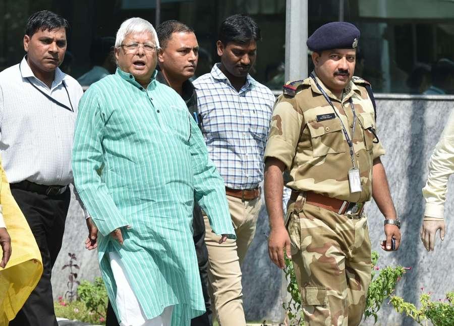 New Delhi: RJD chief Lalu Yadav arrives at CBI headquarters in New Delhi, on Oct 5, 2017. (Photo: IANS) by .