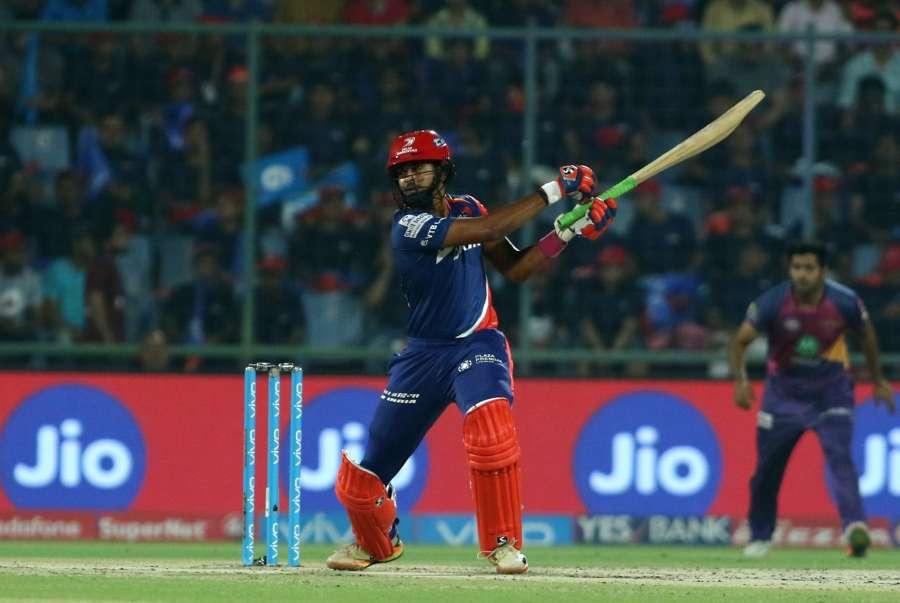 New Delhi: Delhi Daredevils player Shreyas Iyer in action against Rising Pune Supergiant held at the Feroz Shah Kotla Stadium in Delhi on May 12, 2017. (Photo: Surjeet Yadav/IANS) by .