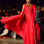 LAHORE, Oct. 15, 2017 (Xinhua) -- A model presents a creation by designer Wasim Khan on the first day of the Bridal Fashion Week in eastern Pakistan's Lahore, on Oct. 14, 2017. The three-day event organized by Pakistan Fashion Design Council is to showcase the latest bridal collections. (Xinhua/Jamil Ahmed/IANS) by .