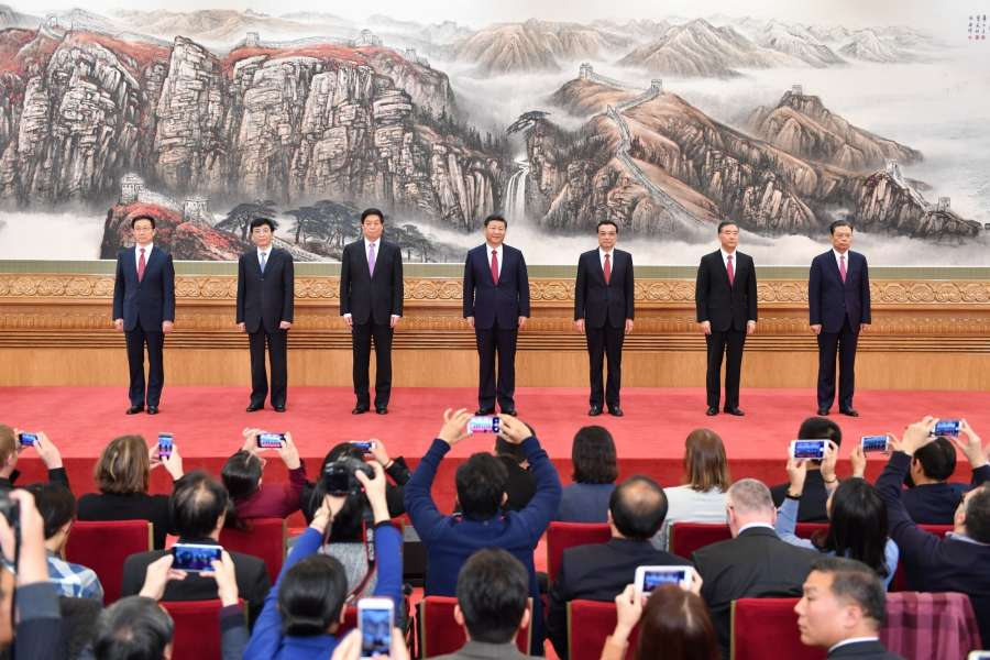 BEIJING, Oct. 25, 2017 (Xinhua) -- Xi Jinping (C), general secretary of the Central Committee of the Communist Party of China (CPC), and the other newly-elected members of the Standing Committee of the Political Bureau of the 19th CPC Central Committee Li Keqiang (3rd R), Li Zhanshu (3rd L), Wang Yang (2nd R), Wang Huning (2nd L), Zhao Leji (1st R) and Han Zheng, meet the press at the Great Hall of the People in Beijing, capital of China, Oct. 25, 2017. (Xinhua/Li Tao/IANS) by .