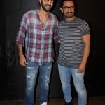 "Mumbai: Actors Ranbir Kapoor and Aamir Khan during the special screening of upcoming film ""Secret Superstar"" in Mumbai on Oct 17, 2017. (Photo: IANS) by ."