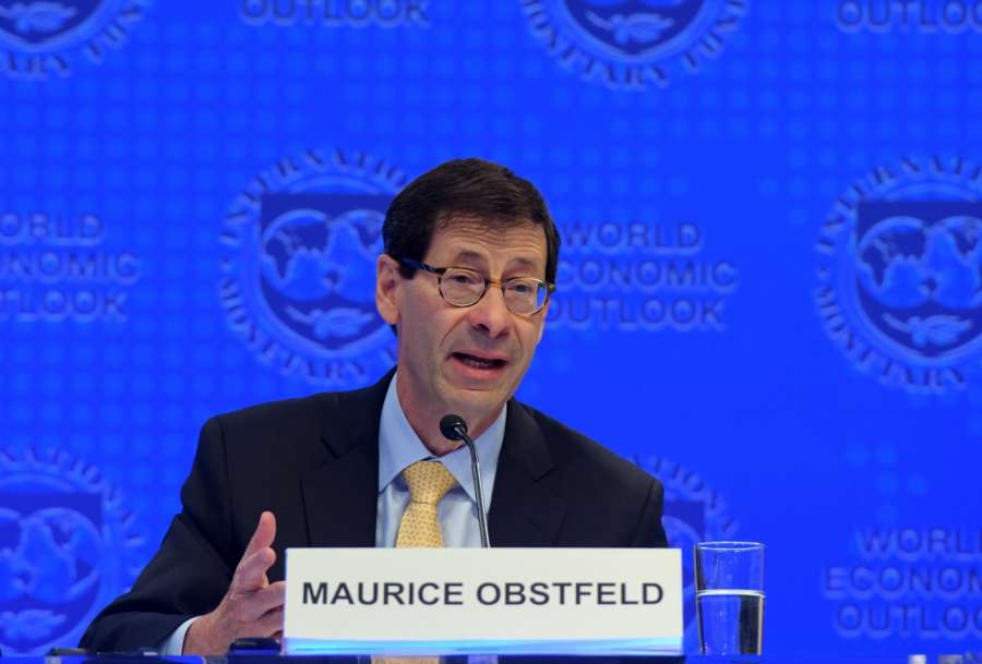 WASHINGTON, Oct. 10, 2017 (Xinhua) --Maurice Obstfeld, chief economist at the International Monetary Fund (IMF), attends a press briefing at the IMF headquarters in Washington D.C., the United States, on Oct. 10, 2017. The IMF on Tuesday raised its global growth forecast for 2017 and 2018 due to a broad-based recovery in Europe, China, Japan and the United States. (Xinhua/Yin Bogu/IANS) by .