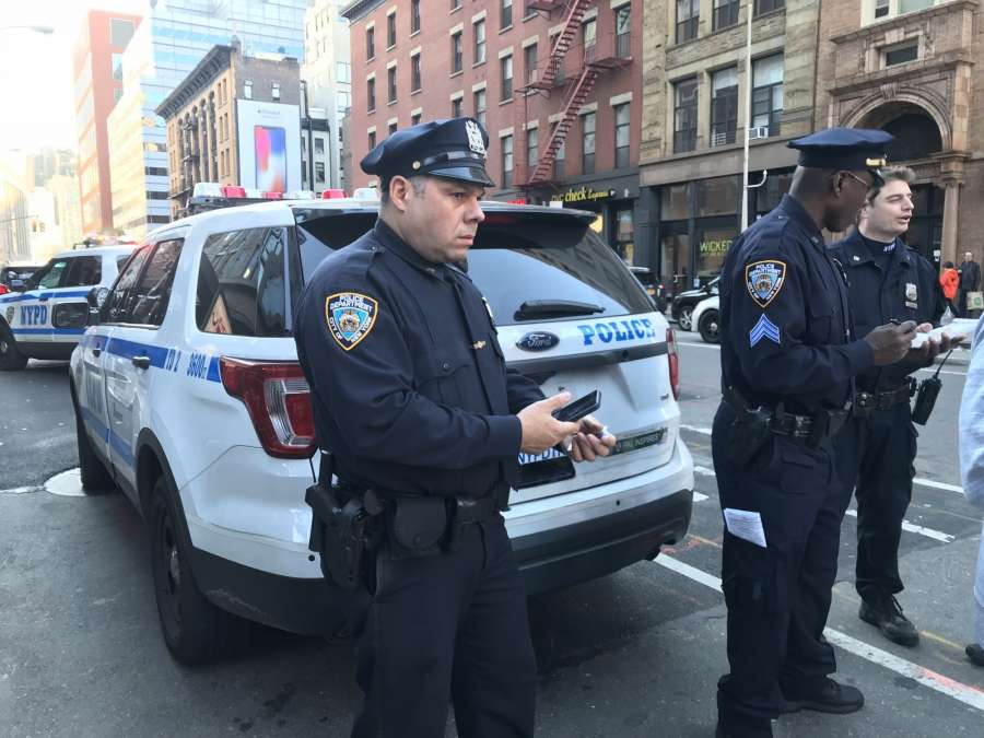 NEW YORK, Oct. 31, 2017 (Xinhua) -- Police officers stand guard near the site of a shooting in lower Manhattan in New York, the United States, on Oct. 31, 2017. Several people were shot in downtown Manhattan on Tuesday, U.S. media reported after New York City Police Department tweeted that one person was taken into custody following reports of shots fired. (Xinhua/Sun Oumeng/IANS) by .