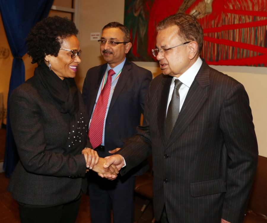 New York: Justice Dalveer Bhandari being greeted by diplomats at a reception at United Nations on Nov. 20, 2017. (Photo: Mohammed Jaffer/IANS) by .