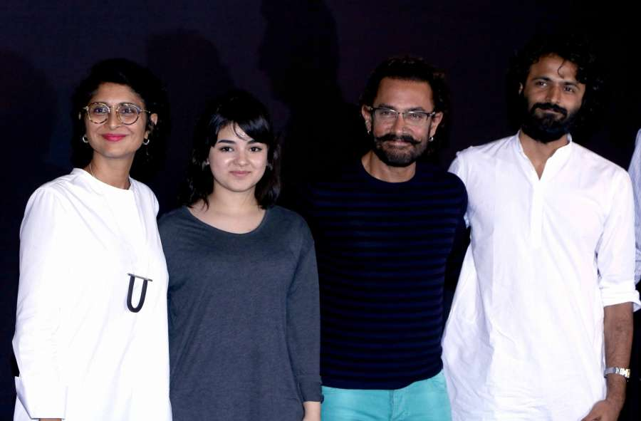 Actor Aamir Khan along with his wife Kiran Rao, actress Zaira Wasim and director Advait Chandan during the trailer launch of upcoming film