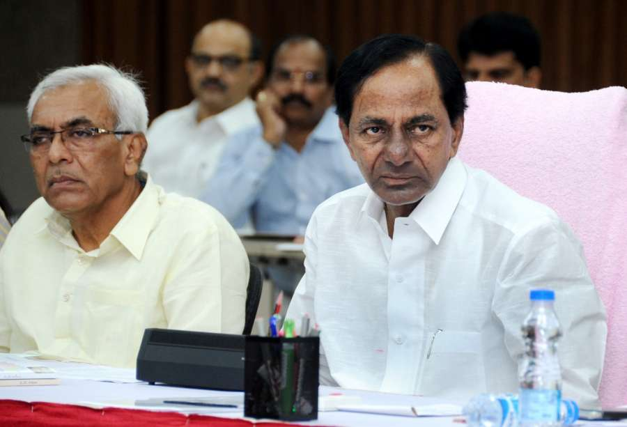 Hyderabad: Telangana Chief Minister K Chandrashekhar Rao during a meeting with literary personalities on the arrangements of the proposed World Telugu Conference in Hyderabad on Nov 20, 2017. (Photo: IANS) by .