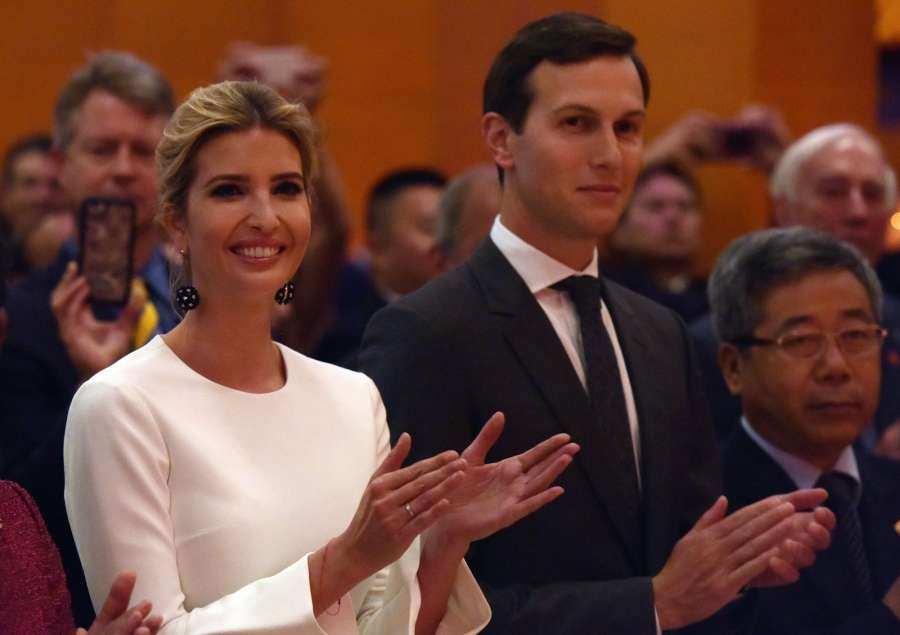WASHINGTON D.C., Sept. 28, 2017 (Xinhua) -- Ivanka Trump (L) and her husband Jared Kushner, White House senior adviser, attend the National Day reception held by the Chinese Embassy in Washington D.C. Sept. 27, 2017. (Xinhua/Yin Bogu/IANS) by .