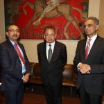 New York: Justice Dalveer Bhandari with India's Permanent Representative to the United Nations, Ambassador Syed Akbaruddin and Indian officials at the United Nations in New York on Nov. 20, 2017. (Photo:Mohammed Jaffer/IANS) by .
