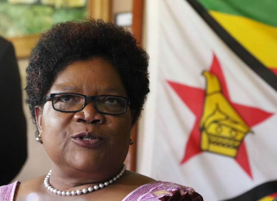 HARARE, Nov. 16, 2017 (Xinhua) -- Zimbabwean former Vice President Joice Mujuru speaks during a press conference in Harare, capital of Zimbabwe, Nov. 16, 2017. Zimbabwean President Robert Mugabe's former deputy Joice Mujuru on Thursday called for a transitional arrangement that should attend to issues of economic recovery and electoral reforms following the military takeover of government on Tuesday night. (Xinhua/IANS) by .
