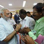 Kanyakumari: Prime Minister Narendra Modi meets farmers who have been victimised by Cyclone Ockhi in Kanyakumari, Tamil Nadu on December 19, 2017. (Photo: IANS/PIB) by .