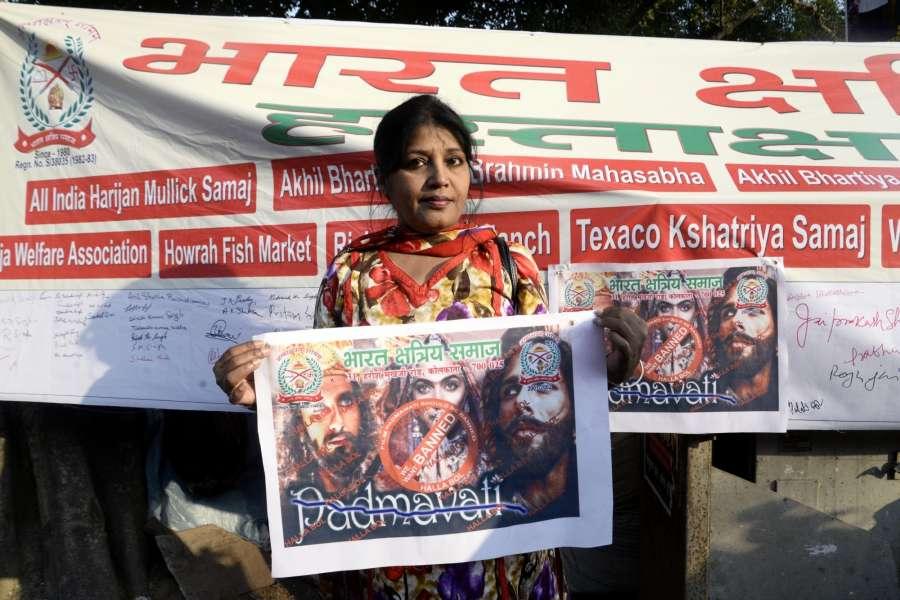 "Kolkata: Members of Bharat Kshatriya Samaj stage a protest against filmmaker Sanjay Leela Bhansali's film ""Padmavati"" in Kolkata on Nov 22, 2017. (Photo: IANS) by ."