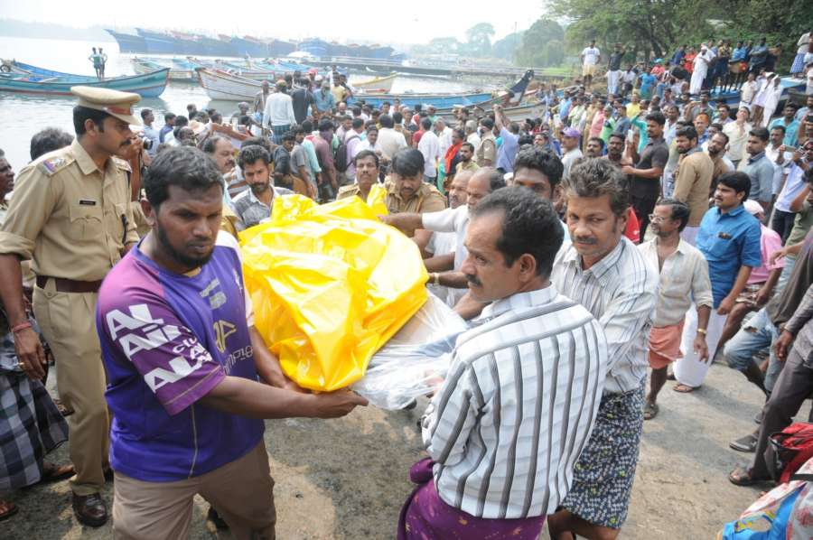 Kozhikode: Bodies of missing fishermen recovered off Kozhikode shoreline in Kerala on Dec 13, 2017. The Coast Guard and Marine Enforcement agencies that were conducting searches off the coast of Kozhikode and Kochi recovered five bodies taking the toll to 52. Cyclone Ockhi struck the southern districts of Kerala and Tamil Nadu on 30th November, 2017. (Photo: IANS) by .