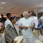 Kanyakumari: Prime Minister Narendra Modi meets people from the fishing community who were victimised by Cyclone Ockhi, in Kanyakumari, Tamil Nadu on Dec 19, 2017. (Photo: IANS/PIB) by .