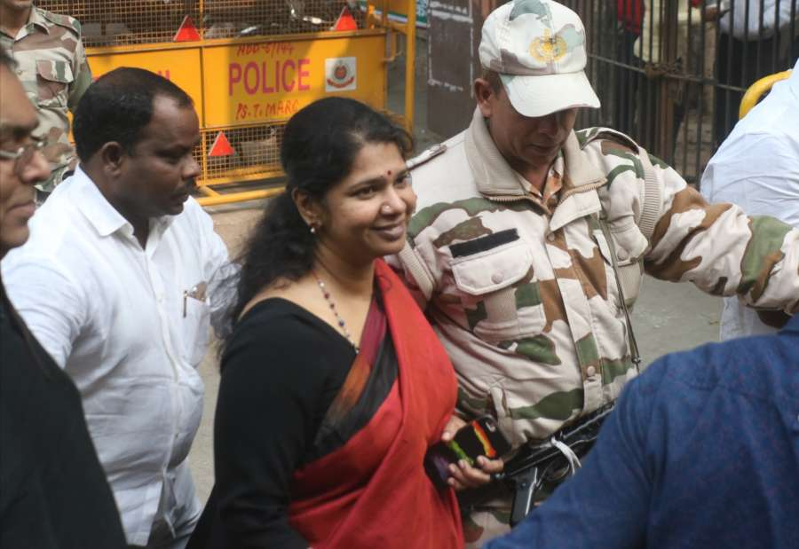 New Delhi: DMK MP Kanimozhi comes out after a Delhi court acquitted her and all other accused in the alleged multi-thousand crore rupee 2G spectrum scandal on Dec 21, 2017. The alleged scam on the issuance of licences and allocation of 2G spectrum by the Department of Telecom occurred during the Congress-led UPA government's first tenure in 2008 but was widely reported in 2010 following a report by the Comptroller and Auditor General of India (CAG). (Photo: IANS) by .
