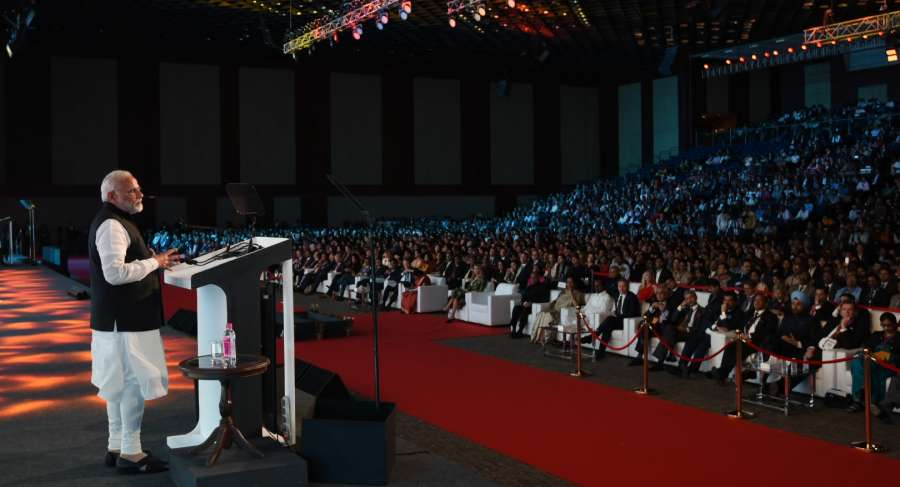 Hyderabad: Prime Minister Narendra Modi addresses at the Global Entrepreneurship Summit (GES) 2017 in Hyderabad on Nov 28, 2017. (Photo: IANS/PIB) by .