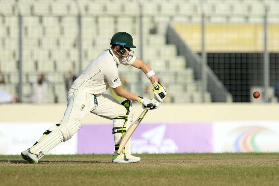 Dhaka: Australian skipper Steven Smith in action on Day 3 of the 1st test match between Bangladesh and Australia in Dhaka, Bangladesh. (Photo: Bdnews24/IANS) by .