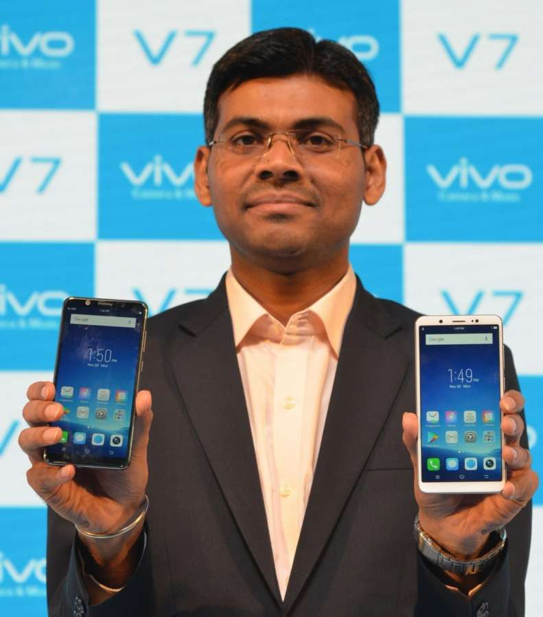 """Gurugram: Vivo India Product Manager Paigham Danish at the launch of """"Vivo V7"""" in Gurugram,. (Photo: IANS) by ."""