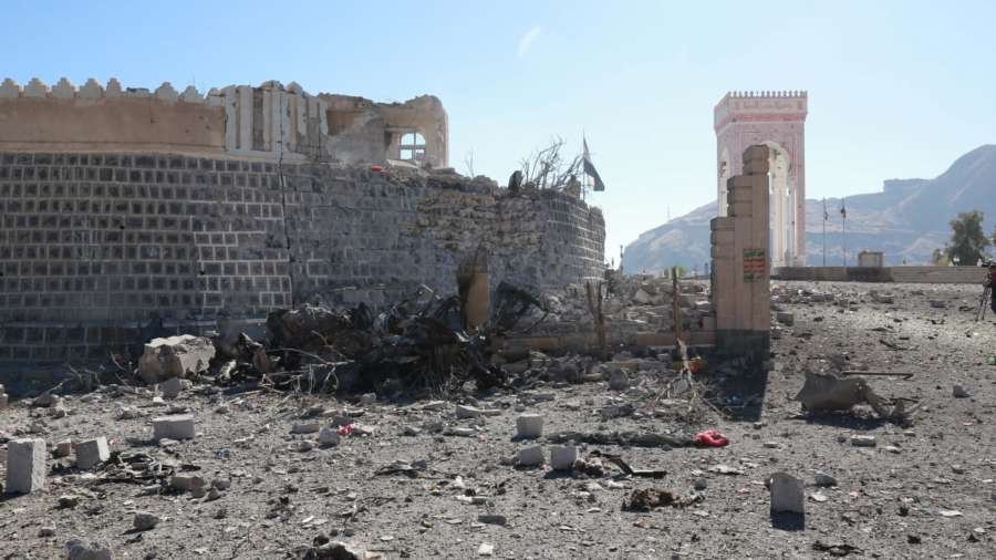 SANAA, Dec. 25, 2017 (Xinhua) -- Photo taken on Dec. 25, 2017 shows a view of the scene of an airstrike in Sanaa, capital of Yemen. A family of nine members, including five children, were killed on Monday morning when Saudi-led coalition warplanes hit the family's house five times in Yemen's capital Sanaa, residents and a Xinhua photographer at the scene witnessed. (Xinhua/Hasan Bamashmous/IANS) by .