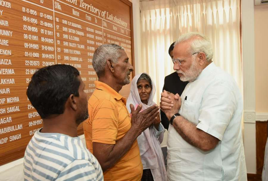 Kavaratti: Prime Minister Narendra Modi meets the victims of Cyclone Ockhi in Kavaratti, Lakshadweep on Dec 19, 2017. (Photo: IANS/PIB) by .