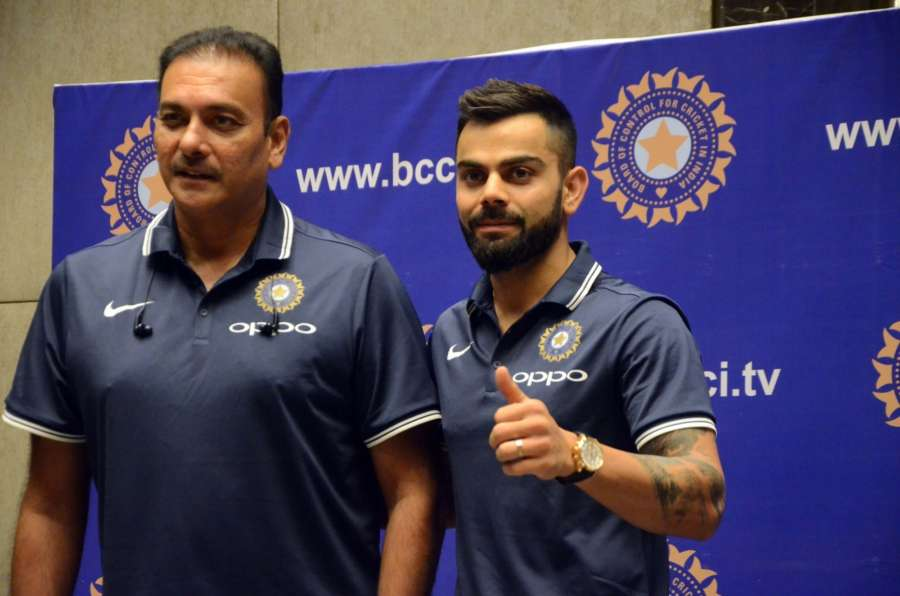 Mumbai: Indian Cricket Team coach Ravi Shastri and skipper Virat Kohli during a press conference of the ODI series in South Africa; in Mumbai. (Photo: IANS) by .