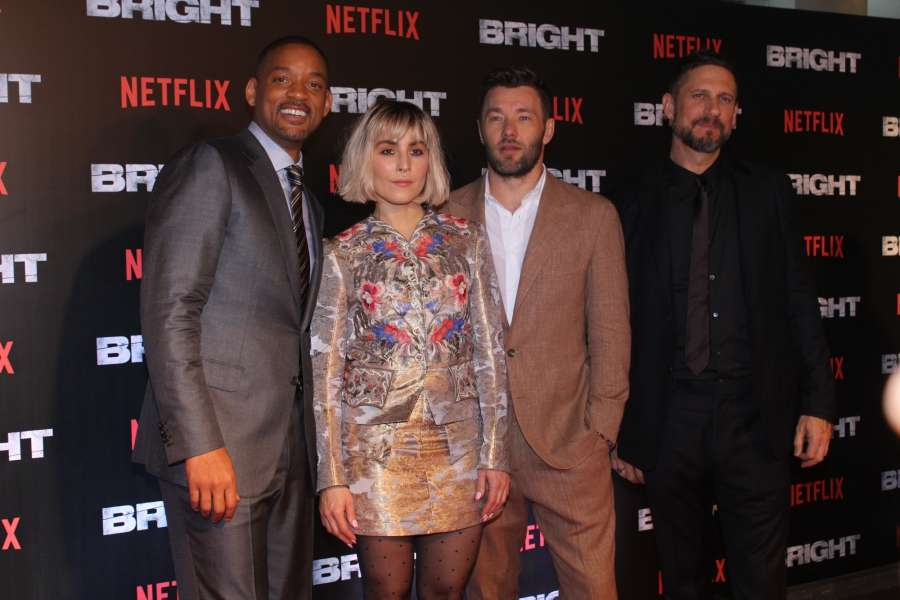 """Mumbai: Actors Joel Edgerton, Will Smith, Noomi Rapace and director David Ayer at the special screening of film """"Bright"""" in Mumbai on Dec 18, 2017. (Photo: IANS) by ."""