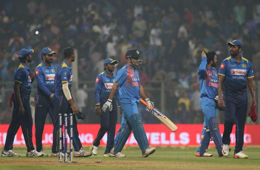 Mumbai: MS Dhoni of India after winning the third T20 match against Sri Lanka at Wankhede Stadium in Mumbai. (Photo: Surjeet Yadav/IANS) by .