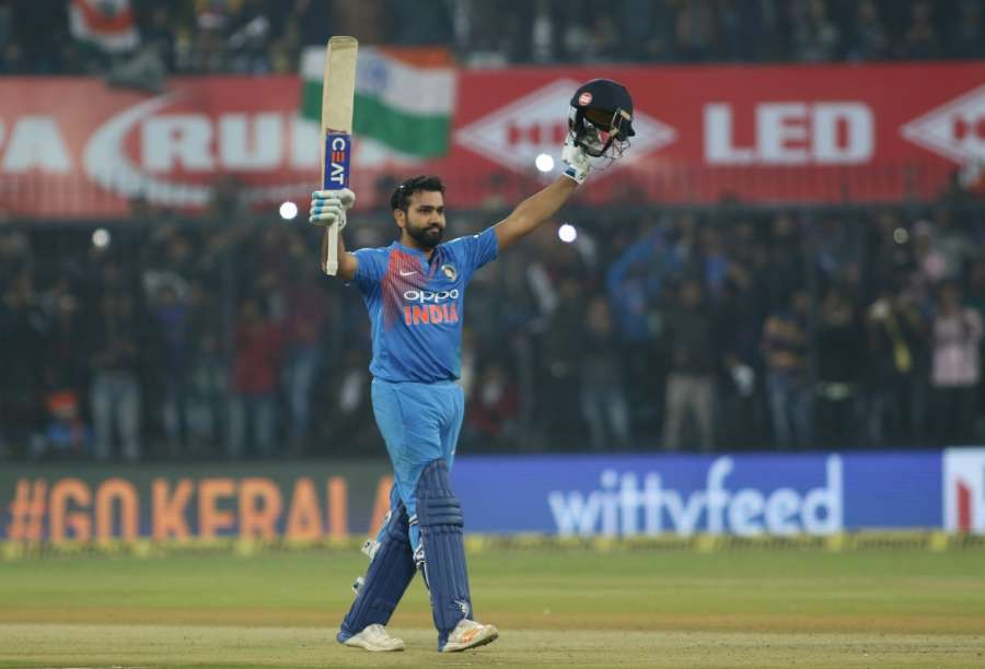 Indore: Indian captain Rohit Sharma celebrates his century during the second T20 match between India and Sri Lanka at Holkar Stadium in Indore. (Photo: Surjeet Yadav/IANS) by .