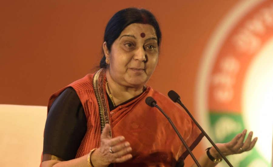 Ahmedabad: External Affairs Minister Sushma Swaraj addresses at a 'Mahila Town Hall' in Ahmedabad on Oct 14, 2017. (Photo: IANS) by GJ_RG.