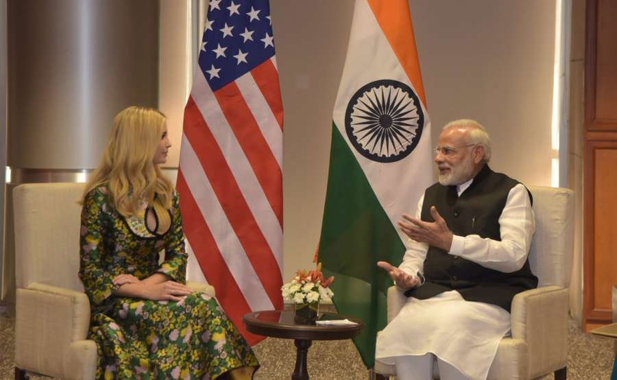Hyderabad: Prime Minister Narendra Modi meets US President Donald Trump's daughter and advisor Ivanka Trump on the sidelines of Global Entrepreneurship Summit (GES) in Hyderabad on Nov 28, 2017. (Photo: IANS) by .