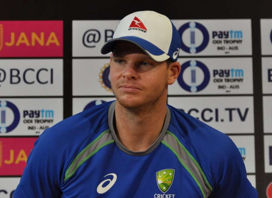 Kolkata: Australian skipper Steve Smith during a press conference. (Photo: Kuntal Chakrabarty/IANS) by .