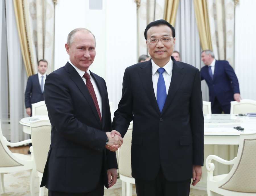 MOSCOW, Nov. 29, 2017 (Xinhua) -- Chinese Premier Li Keqiang (R) meets with Russian President Vladimir Putin at the Kremlin in Moscow, Russia, Nov. 29, 2017. (Xinhua/Xie Huanchi/IANS) by .