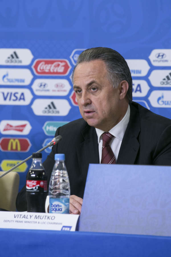 Vitaly Mutko, Russian Federation Deputy Prime Minister and Local Organising Committee (LOC) Chairman speaks during a press conference before the FIFA Confederations Cup 2017 in Saint Petersburg, Russia.