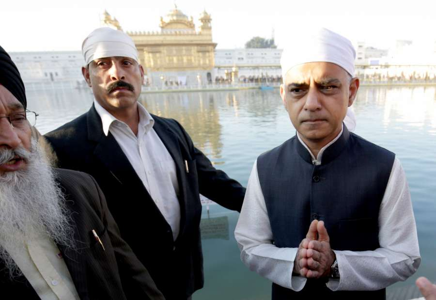 Amritsar: London Mayor Sadiq Khan during his visit to the Golden Temple in Amritsar on Dec 6, 2017.(Photo: IANS) by .