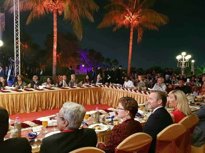 Hyderabad: Delegates during a dinner hosted by Prime Minister Narendra Modi at Taj Falaknuma in Hyderabad. (Photo: IANS) by .