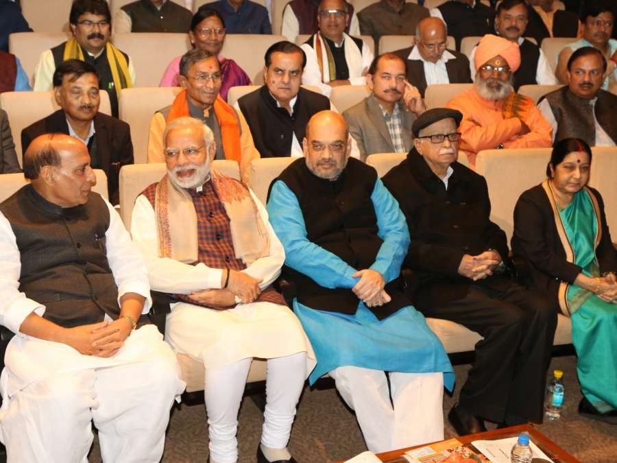 New Delhi: Prime Minister Narendra Modi, BJP president Amit Shah, leaders LK Advani, Rajnath Singh, Sushma Swaraj and others during the BJP Parliamentary Party meeting at Parliament House in New Delhi on Dec. 20, 2017. (Photo: Amlan Paliwal/IANS) by .